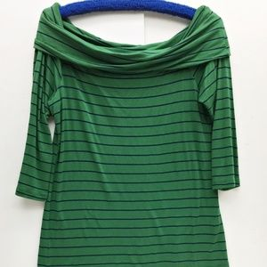 Bobeau Womens Top Green Navy Stripe Cowl Neck M